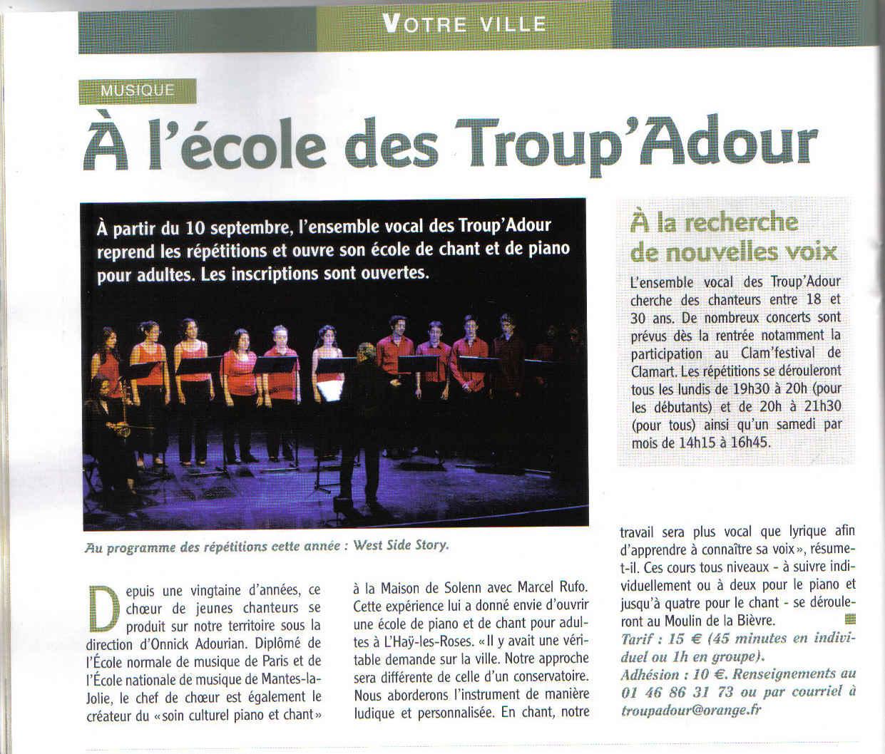 Nouvel article paru dans le journal de la ville de L'Haÿ-les-Roses